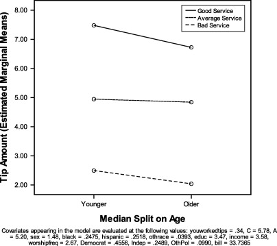 Depiction Of The Service By Age Interaction Effect On Tip Amounts.