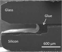 Study of a silicon/glass bonded structure with a UV-curable adhesive