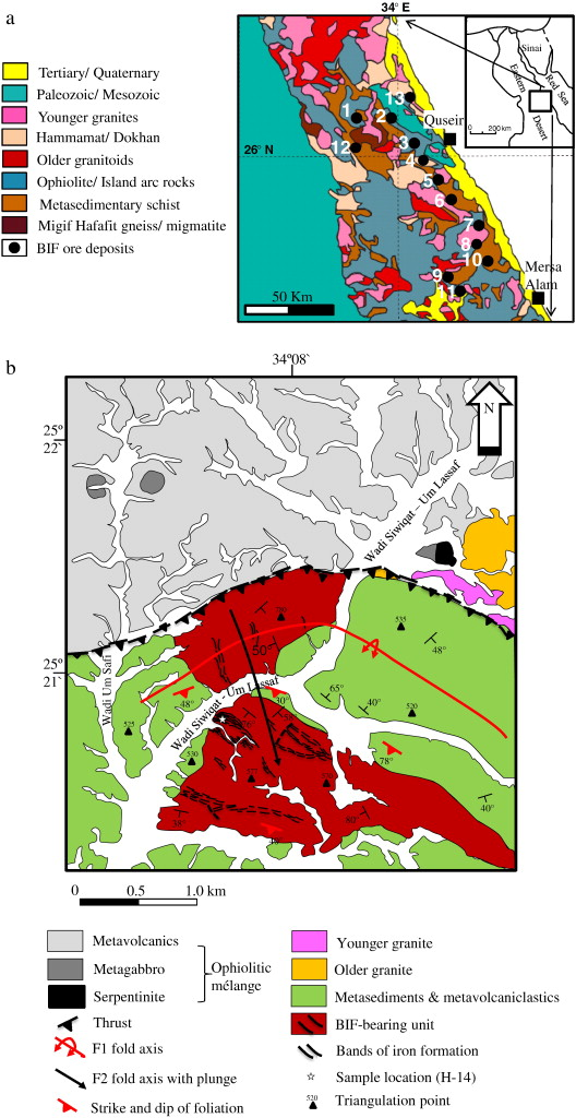 Late Neoproterozoic Banded Iron Formation BIF In The Central - Map of egypt eastern desert
