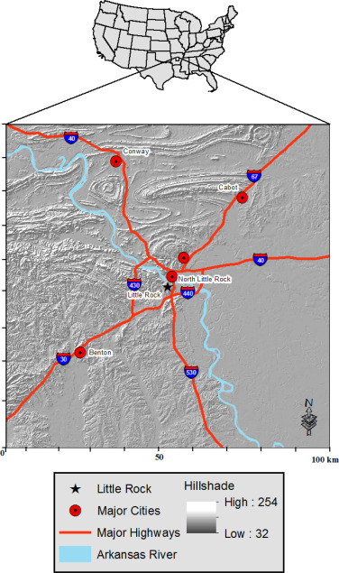 The influence of physiography on historical and future land central arkansas usa study area publicscrutiny Images