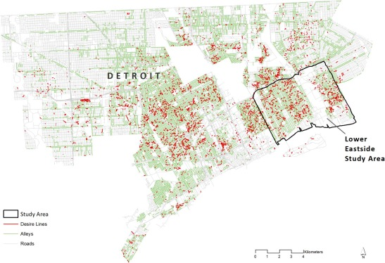 detroit vacant land map Detroit S Lines Of Desire Footpaths And Vacant Land In The Motor detroit vacant land map