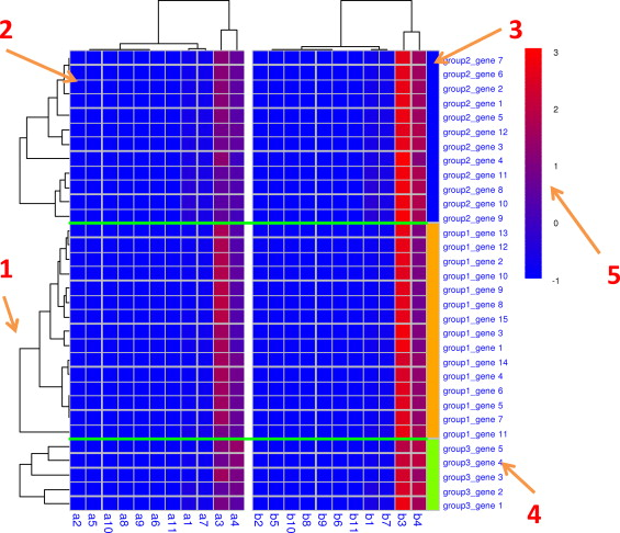 pairheatmap: Comparing expression profiles of gene groups in