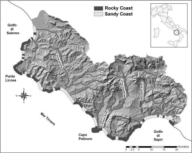 Cilento Region Italy Map.Landslide Hazard Mapping Along The Coastline Of The Cilento Region