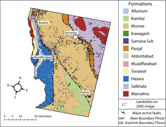 Gis based landslide susceptibility mapping for the 2005 kashmir geological map of the study area of the 2005 kashmir earthquake compiled digitized and revised after maps by hussain and khan 1996 and hussain et al publicscrutiny Image collections