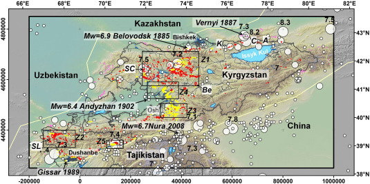 Tien Shan Geohazards Database: Earthquakes and landslides ...