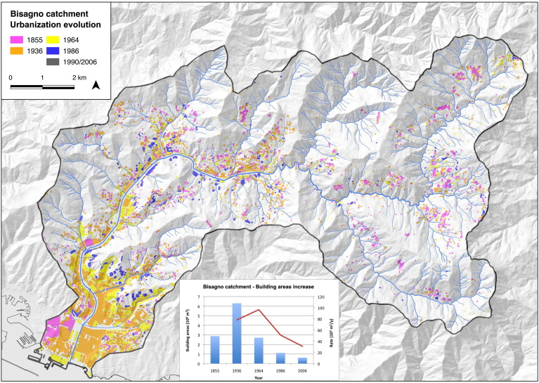 The Bisagno Stream Catchment Genoa Italy And Its Major