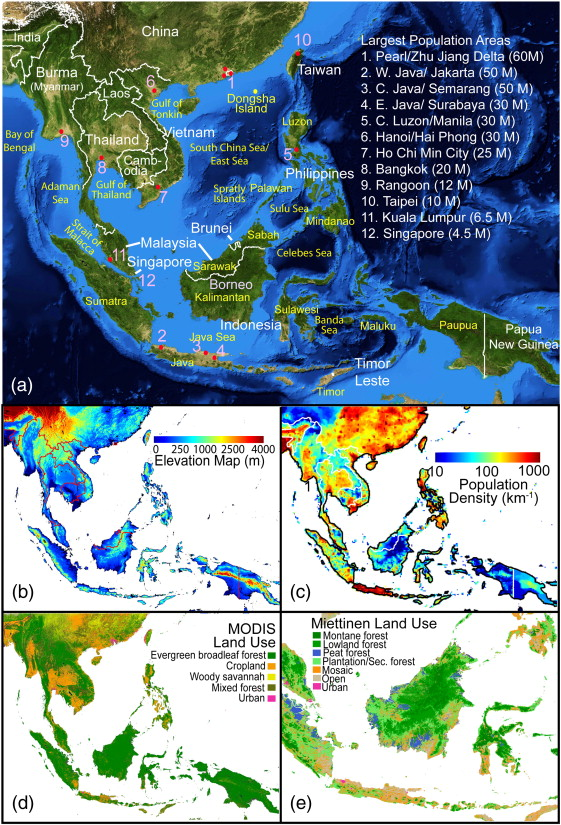 maps of key geographic features of southeast asia a nasa modis blue marble rbg product labeled with key countries regions and major urban centers with