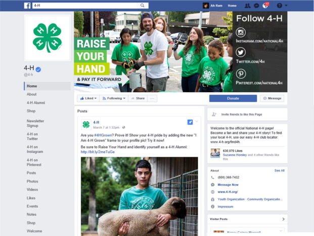 Appendix B. A screenshot of the 4-H Facebook page