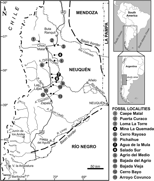Taxonomy And Paleoecology Of A New Gastropod Fauna From Dysoxic - Zapala argentina map