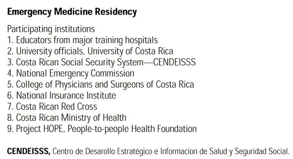 The Costa Rican Emergency Medicine Residency: Design and