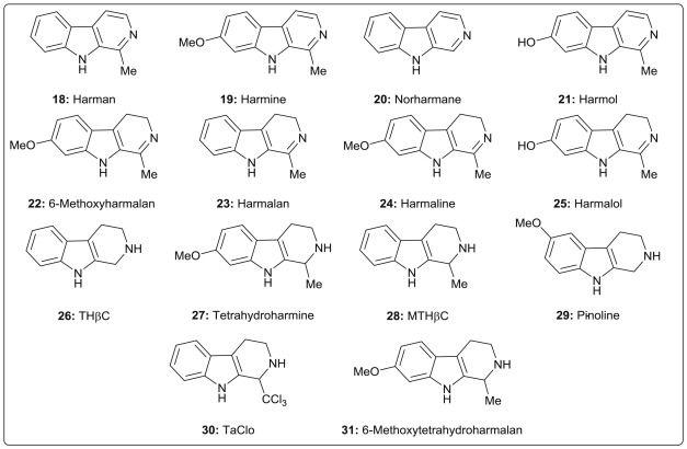 β-Carboline alkaloid monomers and dimers: Occurrence