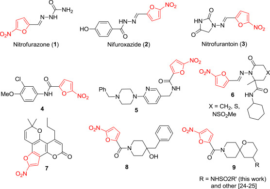 Attachment of a 5-nitrofuroyl moiety to spirocyclic