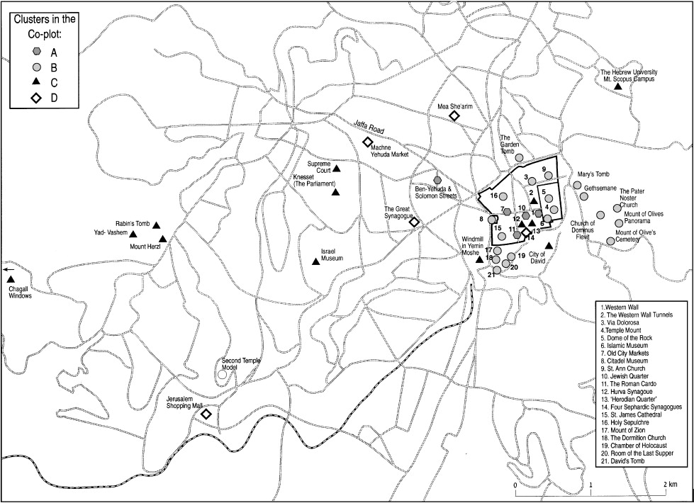 map 1 tourist attractions in jerusalem according to the co plot analysis