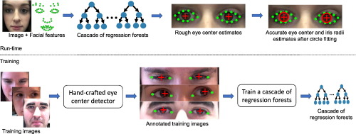 Hybrid eye center localization using cascaded regression and hand