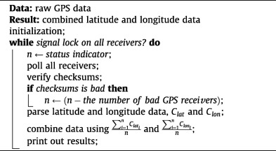 Real-time averaging of position data from multiple GPS