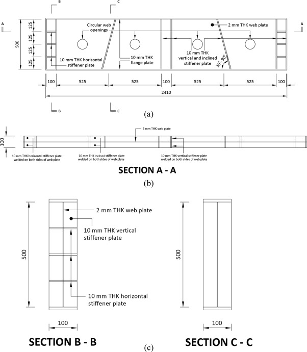 Experimental studies on perforated plate girders with