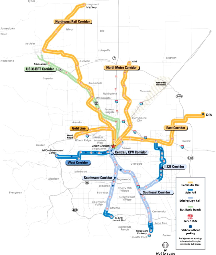 The reshaping of land use and urban form in denver through transit denver existing light rail lines and fastracks program malvernweather Choice Image