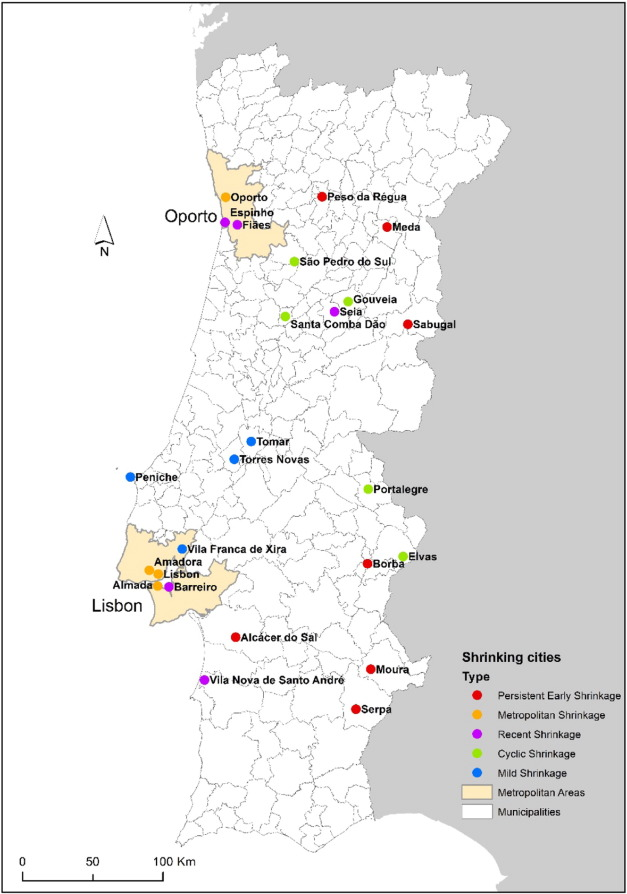 Historical trajectories of currently shrinking portuguese cities the spatial distribution of shrinking cities in portugal 19912011 coded by city type gumiabroncs Gallery