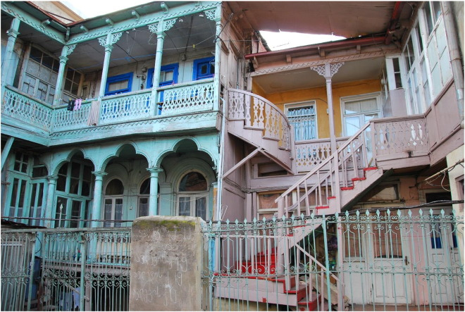 Traditional wooden balconies in Old Tbilisi