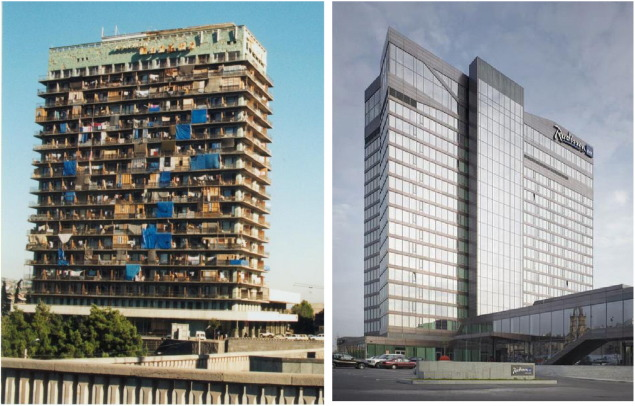 The Iveria hotel used as an IDPs collective centre (left) and rebuilt as the…