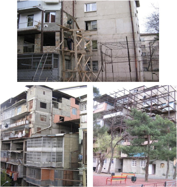 Apartment building extensions in Tbilisi