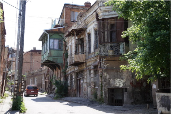 Dilapidating historic buildings in Old Tbilisi