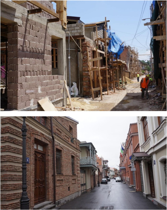 Rebuilding Old Tbilisi (the same street photographed in 2012 and 2014)