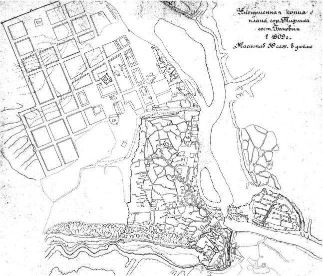 A plan of Tbilisi in 1809 (compiled by Banov)