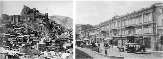 The old town (left) and a new district of Tbilisi in the early 20th century