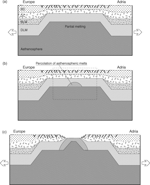 experimental models of extension of continental lithosphere weakened