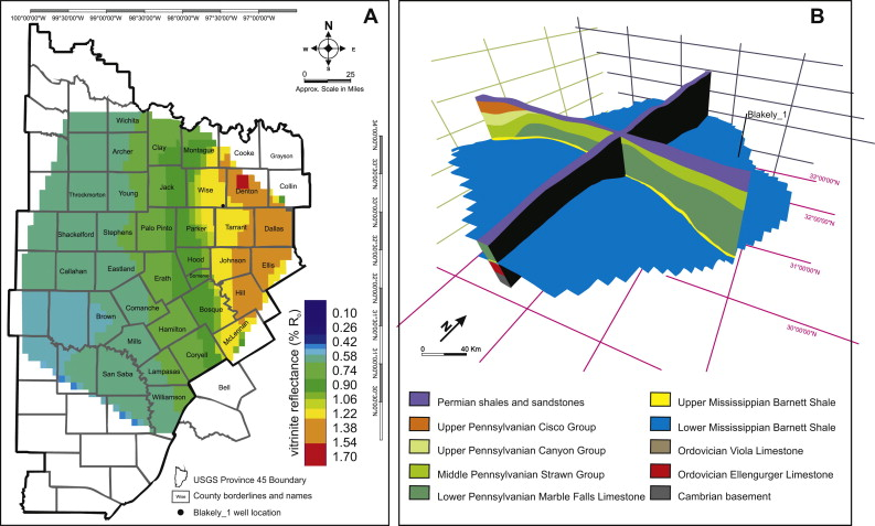 Quantitative evaluation of toc organic porosity and gas retention a the simulated thermal maturity for the lower barnett shale from 3d results b the basin shape for the lower barnett shale and a 3d lithological publicscrutiny Gallery