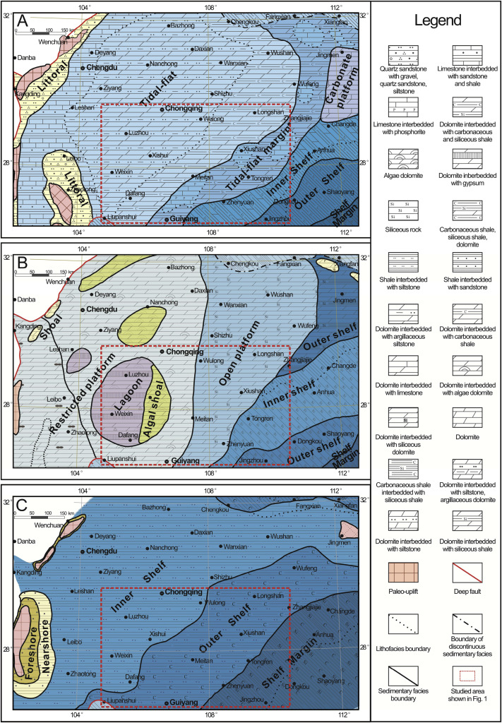 the lithofacies and paleogeographic maps of the a early sinian b late sinian and c early cambrian and isopach map of these stratigraphic units in