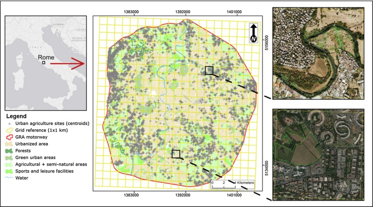 Mapping spatial patterns of urban agriculture in Rome (Italy) using