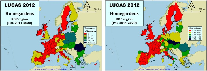Map of home garden abundance in Europe
