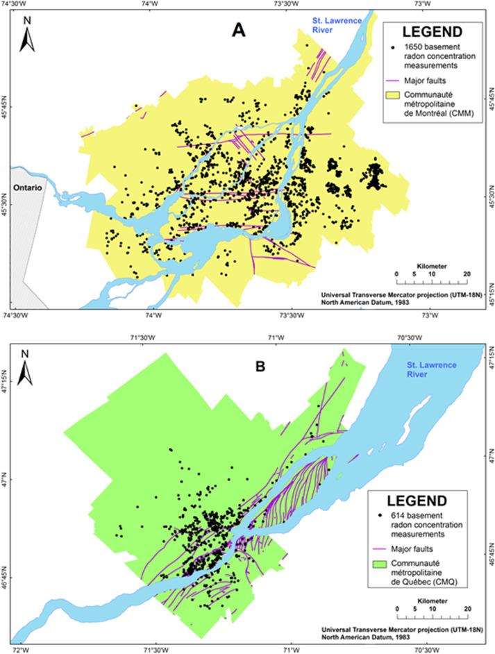 Location Of The Basement Radon Concentration Measurements And The Major  Faults In (A) The Communauté Métropolitaine De Montréal (CMM) And (B) The  Communauté ...