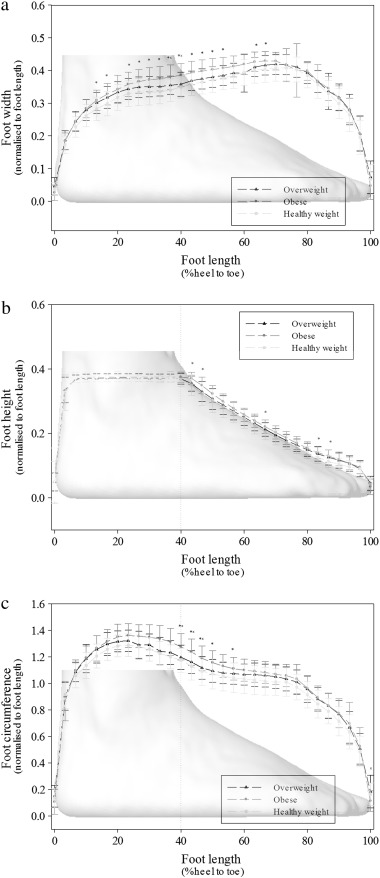 Foot dimensions and morphology in healthy weight, overweight and