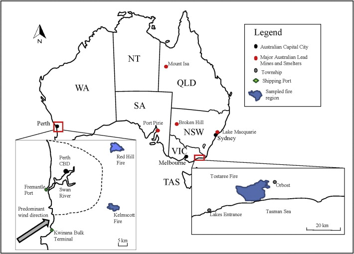 Lead isotopic compositions of ash sourced from Australian