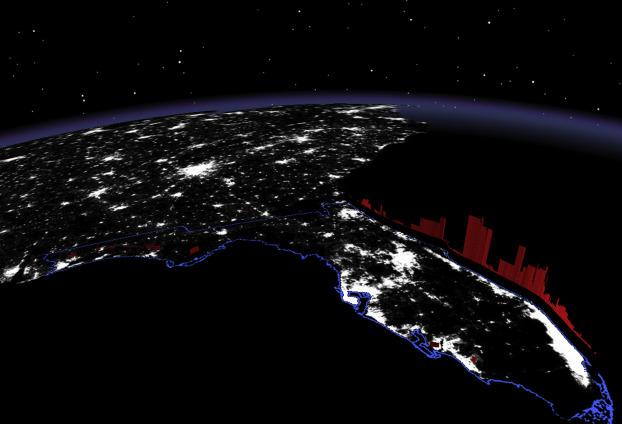 Association between nighttime artificial light pollution and