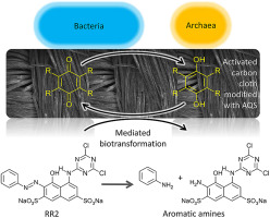 Azo dye biotransformation mediated by AQS immobilized on