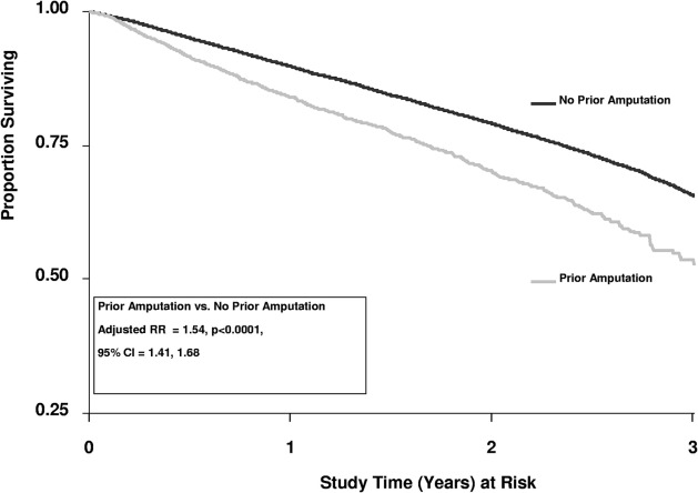 The burden of amputation among hemodialysis patients in the dialysis adjusted survival plot prior amputation versus no prior amputation ccuart