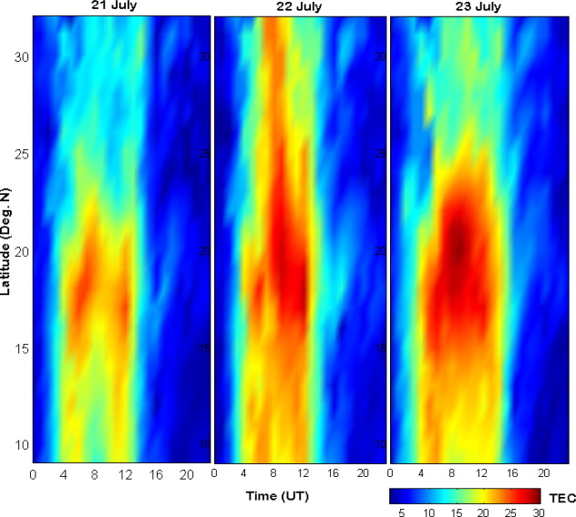 Storm time spatial variations in TEC during moderate geomagnetic