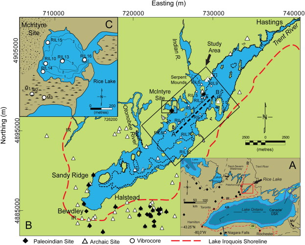 rice lake ontario map Multi Proxy Lake Sediment Record Of Prehistoric Paleoindian rice lake ontario map