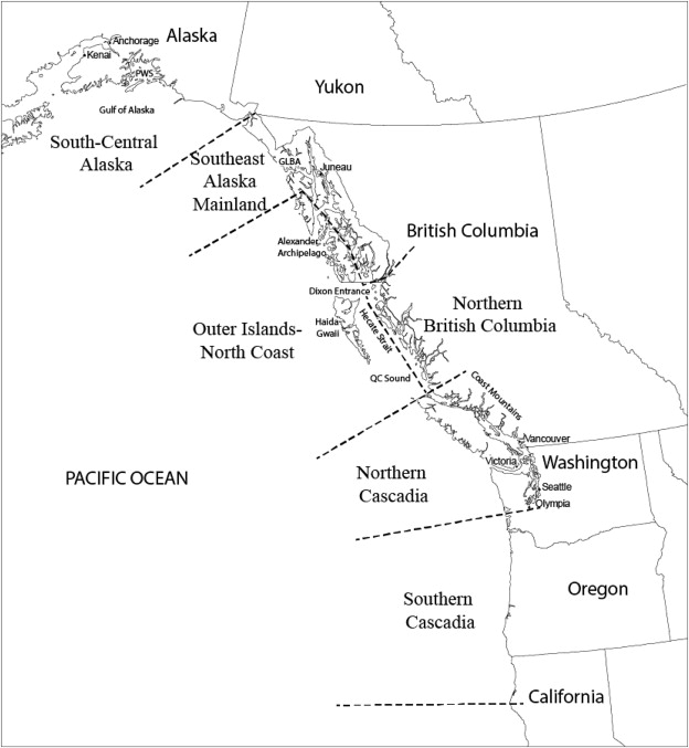 map of western north america showing the sub regions described in text also shown are major cities and physiographic features abbreviated features include