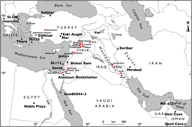 Climatic changes and social transformations in the near east and map of the near east and eastern mediterranean showing archaeological sites and regions and climate proxies used in the paper gumiabroncs Gallery