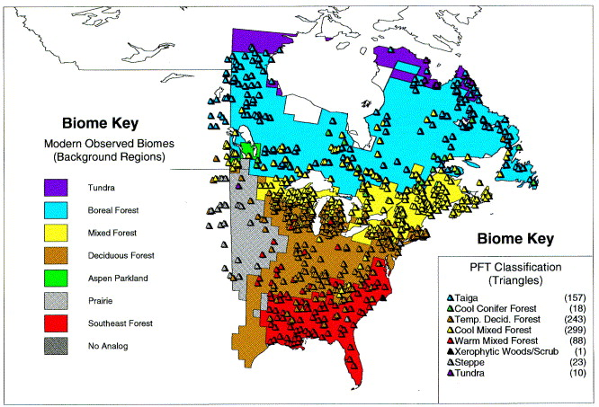 Attractive Map Showing Pollen Sites And Their Biomes As Inferred By The First  Iteration Of The Biomization Method (triangles) Overlain Upon A Map Of  Observed And ...