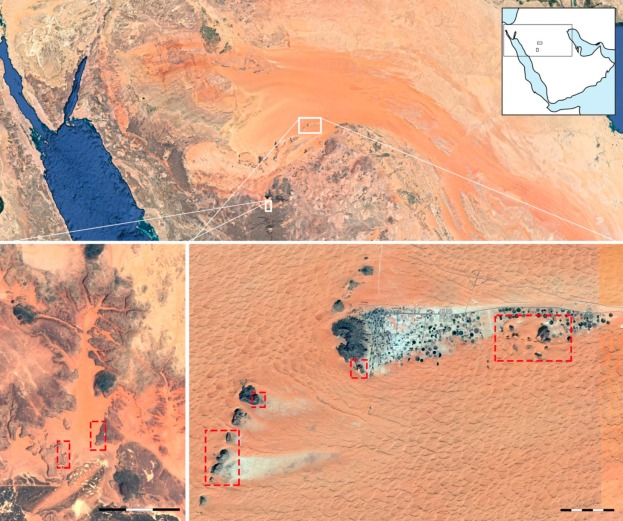 Satellite images showing the location and topography of Shuwaymis (bottom left) ...