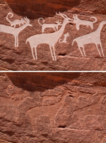 Scene from the western embankment in Shuwaymis depicting three gazelles being ...