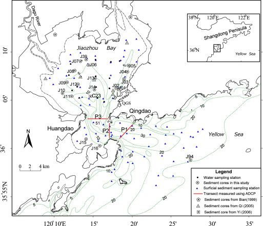 Remarked Morphological Change In A Large Tidal Inlet With Low - Jiaozhou city map