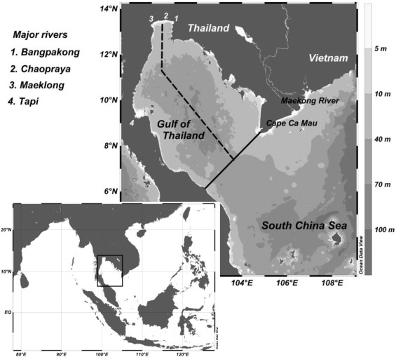 The modification of water column conditions in the gulf of the gulf of thailand showing depth contours in meter and boundary of the study area for water column analysis thick solid line publicscrutiny Images