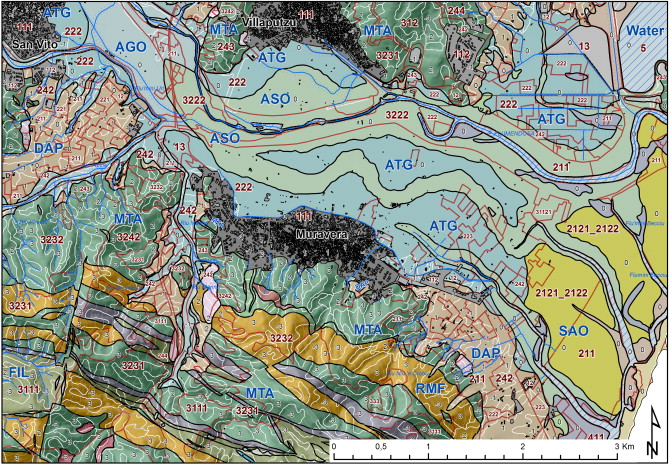 A gis based method for soil mapping in sardinia italy a geomatic extract of the first draft of the land unit map codes are those of tables 35 pale blue parent materials black landform and red land cover gumiabroncs Choice Image